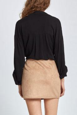 Μίνι φούστα από συνθετικό σουέντ σε μπεζ