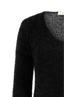 Χνουδωτό μακρύ πουλόβερ μαύρο