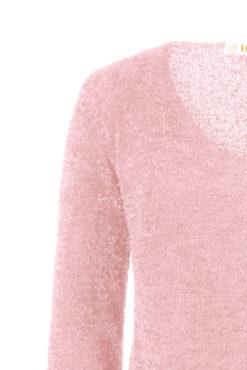 Χνουδωτό μακρύ πουλόβερ ροζ