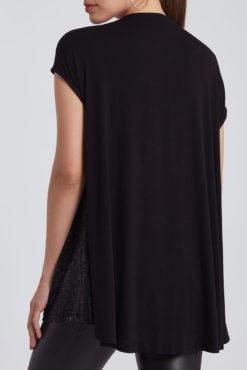 Μπλούζα με παγιέτες σε animal print μαύρη