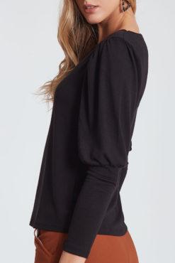 Μπλούζα με μανίκι με όγκο μαύρη