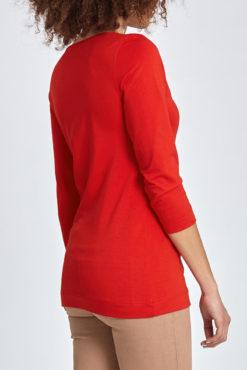 Μπλούζα με V λαιμόκοψη και απαλή υφή κόκκινη