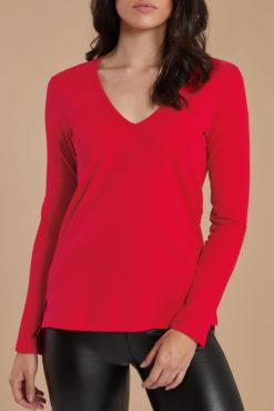 Μπλούζα με V λαιμόκοψη κόκκινη