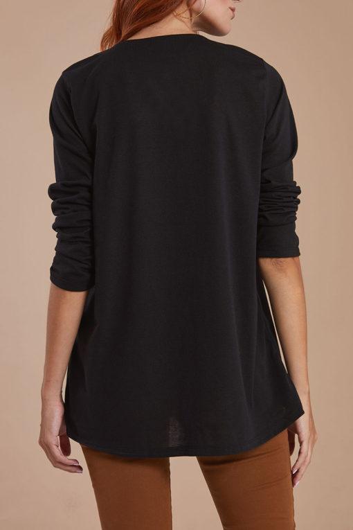 Μπλούζα με V λαιμόκοψη και πιέτα μαύρη