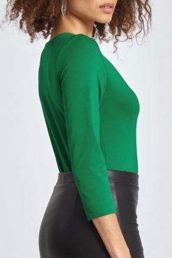 Μπλούζα με V λαιμόκοψη και απαλή υφή πράσινη