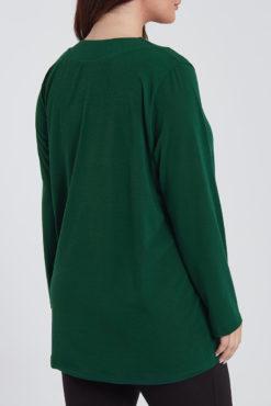 Μπλούζα με V λαιμόκοψη και πιέτα πράσινη