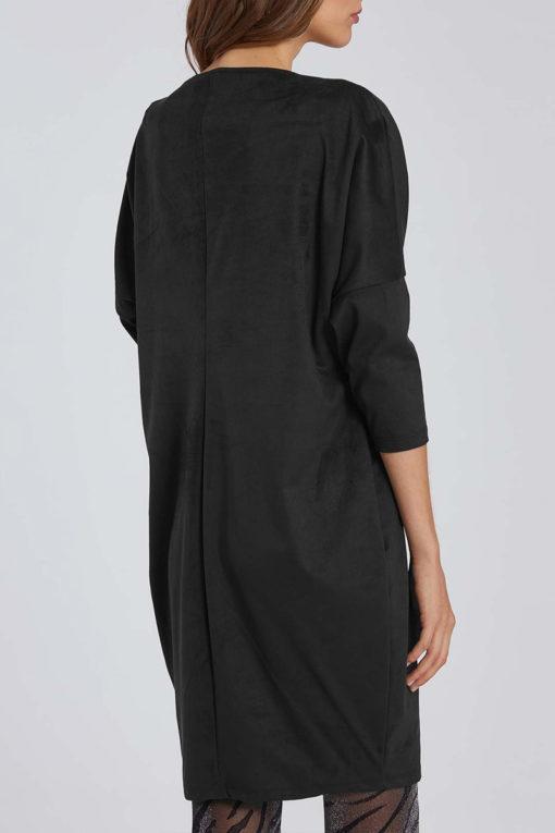 Oversized φόρεμα τύπου suede σε μαύρο