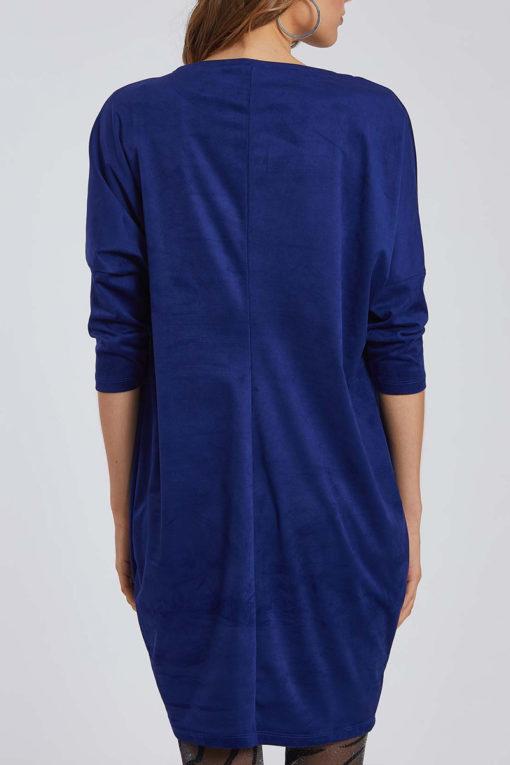 Oversized φόρεμα τύπου suede σε μπλε ηλεκτρίκ