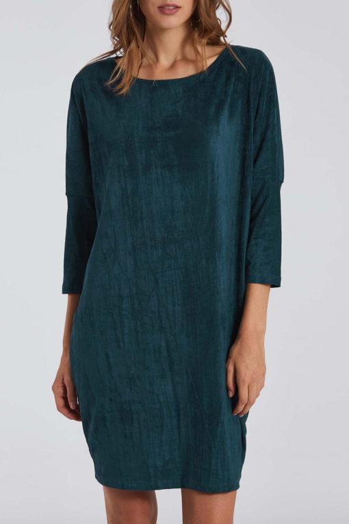 Oversized φόρεμα τύπου suede σε πετρόλ