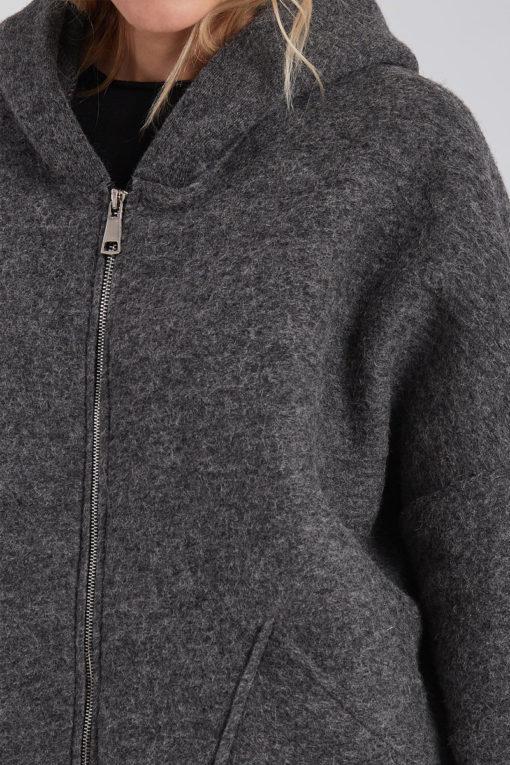 Oversized παλτό με τσέπες και κουκούλα γκρι