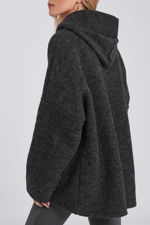 Oversized παλτό με τσέπες και κουκούλα γκρι σκούρο