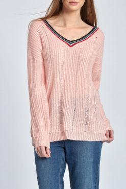 Πλεκτό πουλόβερ με V λαιμόκοψη ροζ
