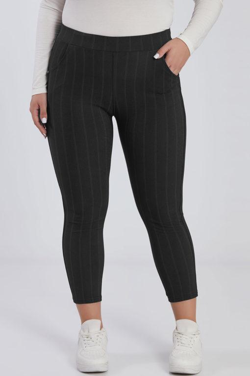 Plus size ριγέ παντελόνι μαύρο