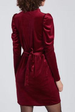 Βελουτέ φόρεμα με όγκο στο μανίκι μπορντό