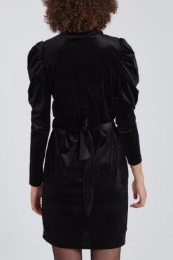 Βελουτέ φόρεμα με όγκο στο μανίκι μαύρο