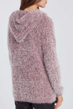 Χνουδωτή ζακέτα με κουκούλα και τσέπες ροζ