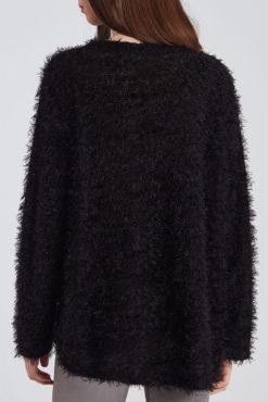 Χνουδωτό πουλόβερ μαύρο
