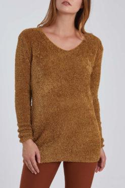Χνουδωτό μακρύ πουλόβερ μουσταρδί