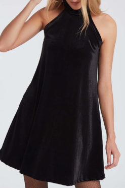 Βελούδινο μαύρο φόρεμα με δέσιμο