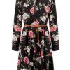 Midi φόρεμα με αποσπώμενη ζώνη μαύρο