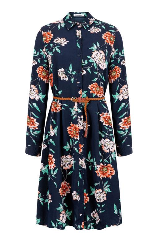 Midi φόρεμα με αποσπώμενη ζώνη μπλε σκούρο