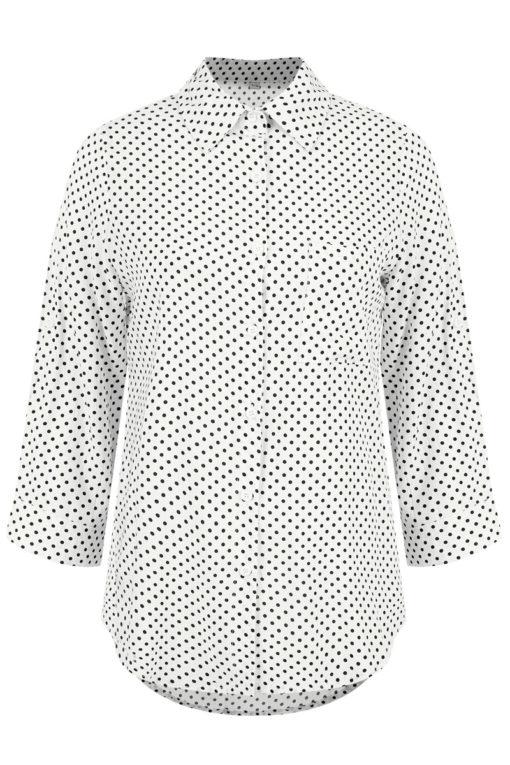 Πουά πουκάμισο με τσέπη λευκό