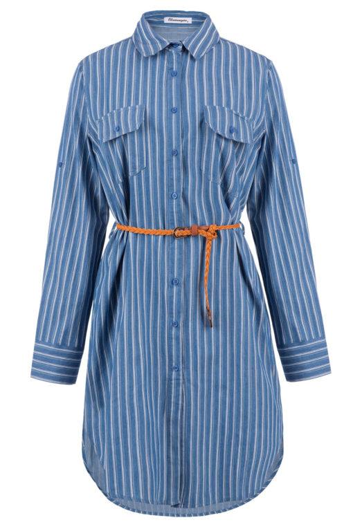 Ριγέ φόρεμα με γιακά