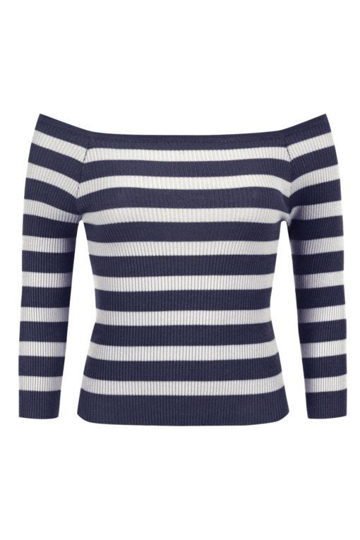 Ριγέ μπλούζα με ακάλυπτους ώμους σε μπλε