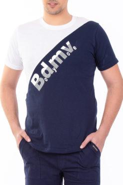 Μπλούζα με τύπωμα δίχρωμη (λευκό-μπλε)