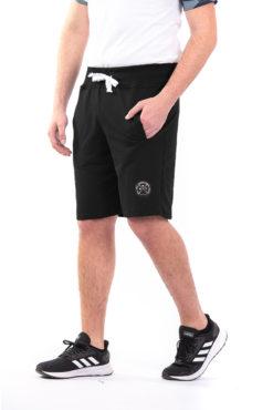 Βερμούδα φούτερ με φερμουάρ στην πίσω τσέπη μαύρη