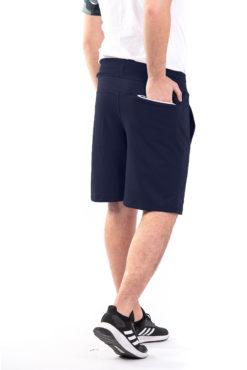 Βερμούδα φούτερ με φερμουάρ στην πίσω τσέπη μπλε