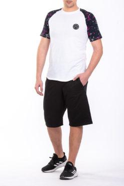 Μπλούζα βαμβακερή με εμπριμέ μανίκια λευκή