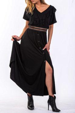 Maxi φόρεμα με βολάν μαύρο