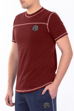 Μπλούζα με διακοσμητικές ραφές μπορντώ