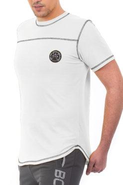 Μπλούζα με διακοσμητικές ραφές λευκή