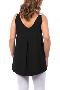Μπλούζα βισκόζ με φαρδιές δίχρωμες ράντες μαύρη