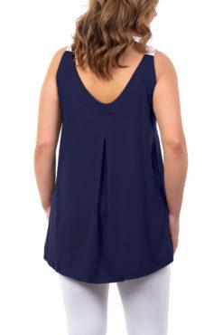 Μπλούζα βισκόζ με φαρδιές δίχρωμες ράντες μπλε