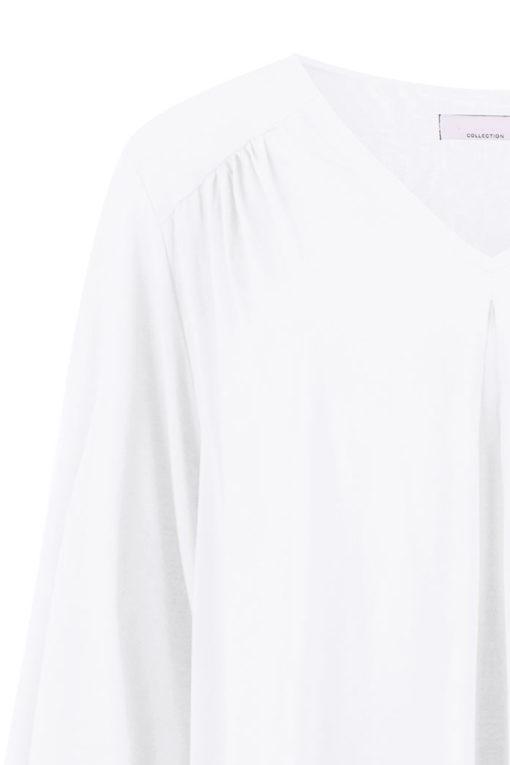 Μπλούζα με V λαιμόκοψη και σούρες λευκή