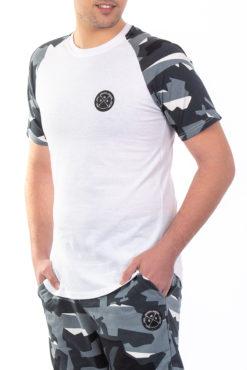 Μπλούζα βαμβακερή με μανίκια παραλλαγής άσπρη