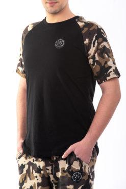Μπλούζα βαμβακερή με μανίκια παραλλαγής μαύρη