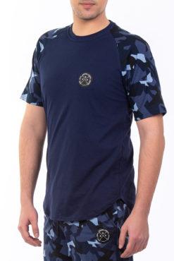 Μπλούζα βαμβακερή με μανίκια παραλλαγής μπλε