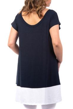 Μπλουζοφόρεμα με κοντό μανίκι δίχρωμο