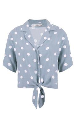 Κοντό πουά πουκάμισο με δέσιμο γαλάζιο