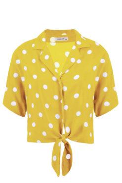 Κοντό πουά πουκάμισο με δέσιμο κίτρινο
