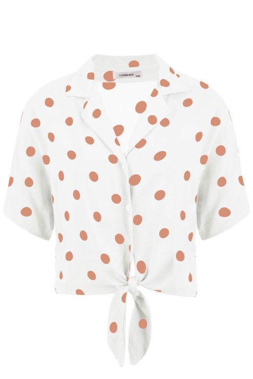 Κοντό πουά πουκάμισο με δέσιμο λευκό
