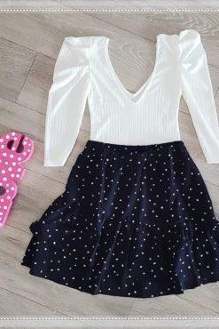 Κορμάκι με όγκο στο μανίκι + φούστα με βολάν