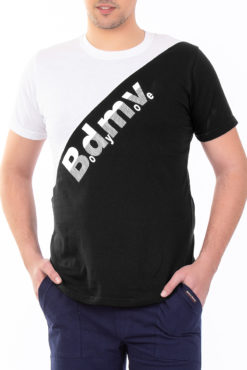 Μπλούζα με τύπωμα δίχρωμη (λευκό-μαύρο)