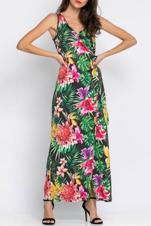 Φόρεμα μάξι κρουαζέ με φλοράλ μοτίβο