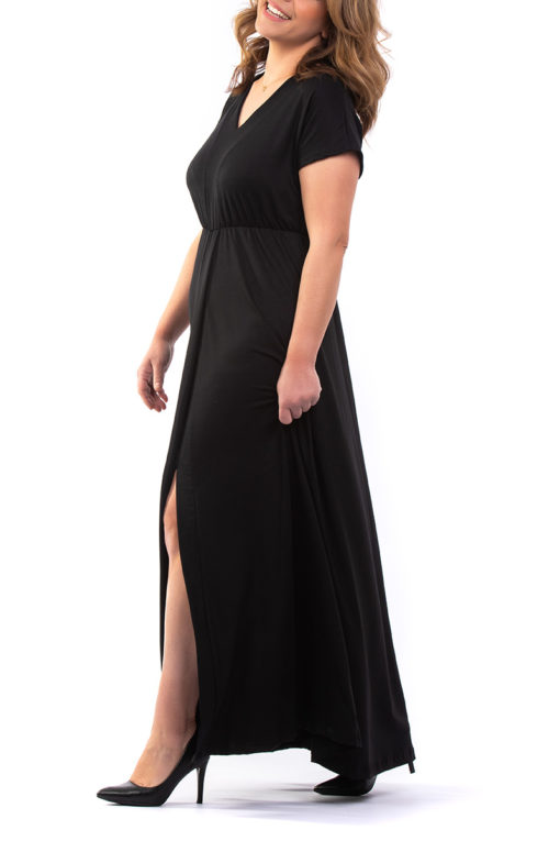 Φόρεμα maxi βισκόζ μαύρο