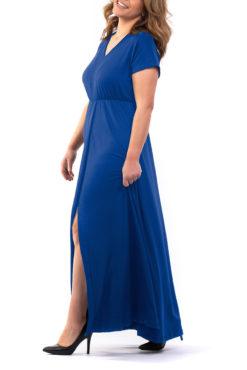 Φόρεμα maxi βισκόζ μπλε ρουά